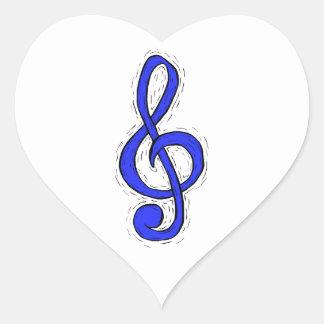 Treble Clef Graphic Design Medium Blue Heart Sticker