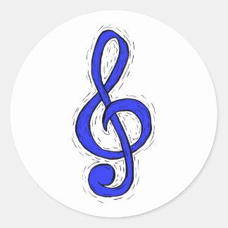 Treble Clef Graphic Design Medium Blue Round Sticker