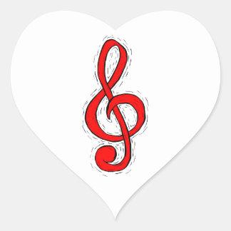 Treble Clef Graphic Design Red Heart Sticker
