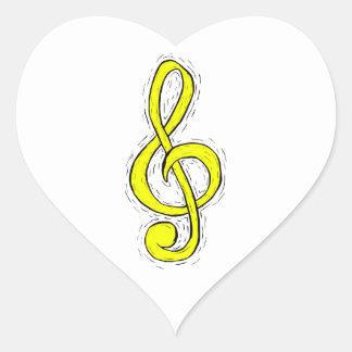 Treble Clef Graphic Design Yellow Heart Sticker