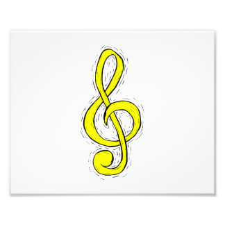 Treble Clef Graphic Design Yellow Photo Print