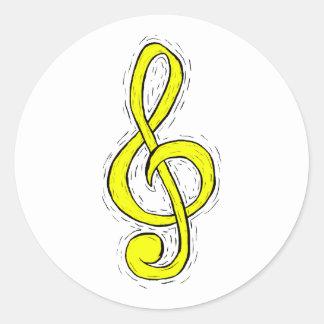 Treble Clef Graphic Design Yellow Round Sticker