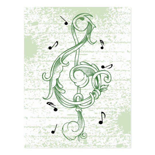 Treble clef green scrollwork sol note key postcard