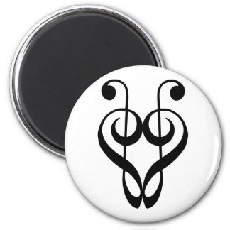 Treble clef heart (black) refrigerator magnet