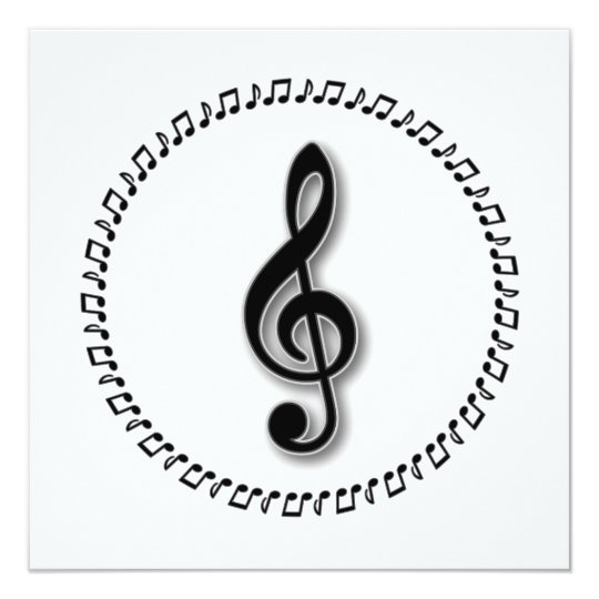 Treble Clef Music Note Design 13 Cm X 13 Cm Square Invitation Card