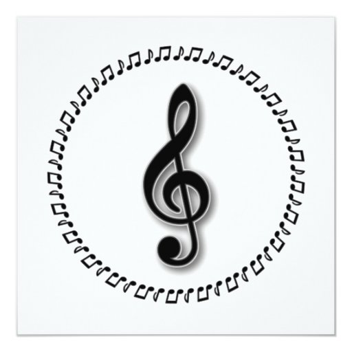 Treble Clef Music Note Design 13cm X 13cm Square Invitation Card