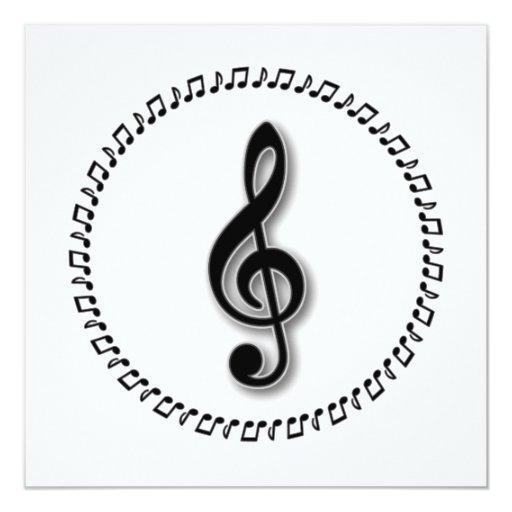 Treble Clef Music Note Design Personalised Announcement