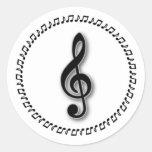 Treble Clef Music Note Design Round Stickers