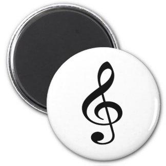 Treble Clef Music Note 6 Cm Round Magnet