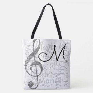 treble clef music note monogram with name white tote bag
