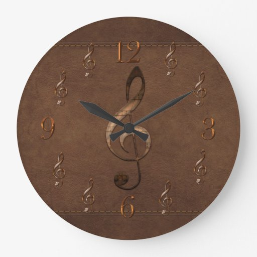Treble clef music themed faux leather wall clock zazzle