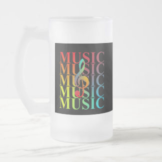 Treble Clef Music Typography Colorful Graphic Frosted Glass Beer Mug