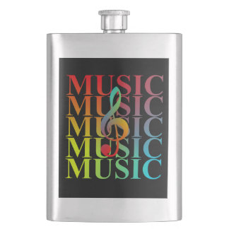 Treble Clef Music Typography Colorful Graphic Hip Flask