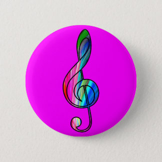 Treble clef note in color_ 6 cm round badge