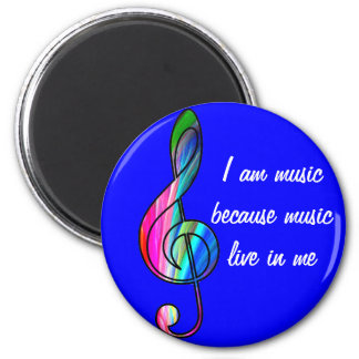 Treble clef note in color_ 6 cm round magnet