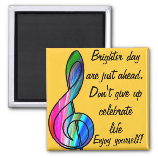 Treble clef note in color_ square magnet