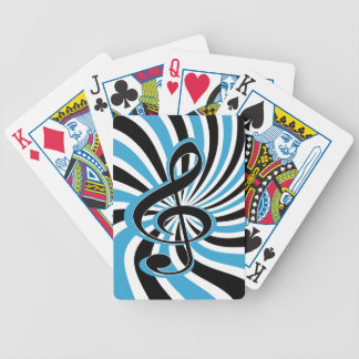 Treble Clef on Blue Retro Background Bicycle Playing Cards