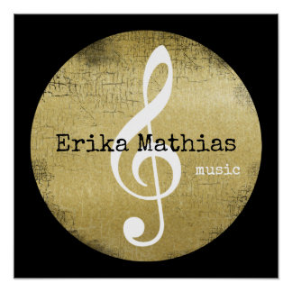treble clef on faux gold circle with name poster
