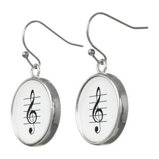 Treble Clef on Staff Black-on-White Music Earrings