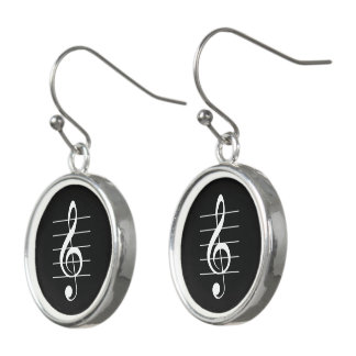 Treble Clef on Staff White-on-Black Music Earrings