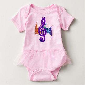 Treble Clef Purple Elegant Design Baby Bodysuit