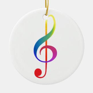 treble clef rainbow colours round ceramic decoration