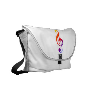 Treble Clef rainbow Commuter Bags