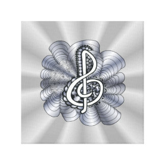 Treble Clef Silver Customizable Gallery Wrapped Canvas