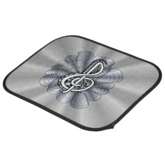 Treble Clef Silver Customizable Car Mat