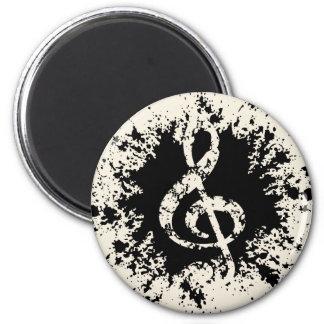 Treble Clef Splat 6 Cm Round Magnet