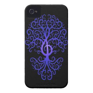 Treble Clef Tree, blue & black iPhone 4 Cases