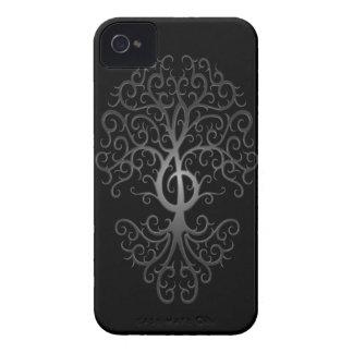 Treble Clef Tree, dark iPhone 4 Cases