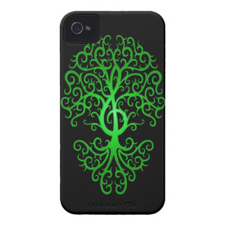 Treble Clef Tree, green & black Case-Mate iPhone 4 Cases