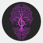 Treble Clef Tree, purple & black Round Stickers