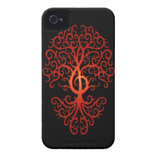Treble Clef Tree, red & black Case-Mate iPhone 4 Cases