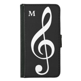 treble clef Wallet Case with custom initial