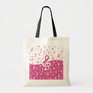 Treble Clef Wave Music Notes in Pink and White