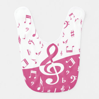 Treble Clef Wave Music Notes in Pink and White Bib