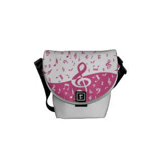 Treble Clef Wave Music Notes in Pink and White Courier Bag