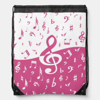 Treble Clef Wave Music Notes in Pink and White Drawstring Bags