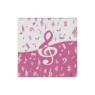 Treble Clef Wave Music Notes in Pink and White Stone Magnet
