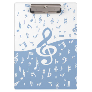 Treble Clef Wave Sky Blue and White Clipboard