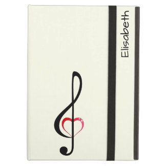 Treble clef with shiny pink heart iPad air case