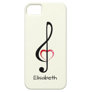 Treble clef with shiny pink heart iPhone 5 cases