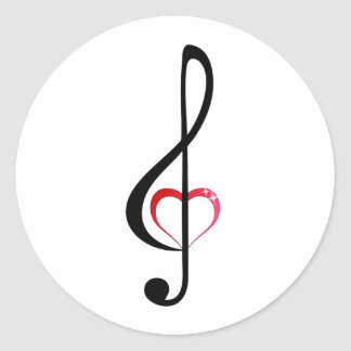Treble clef with shiny pink heart round sticker