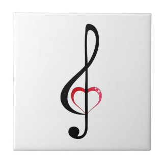 Treble clef with shiny pink heart tile