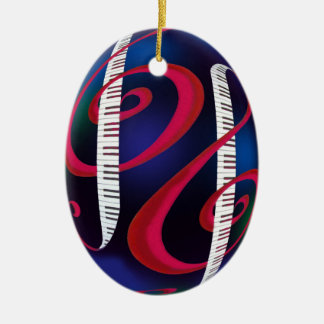 Treble Clefs with Keyboard Ceramic Oval Decoration