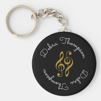 treble clefs with musician full name personalized key ring