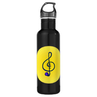 Treble horn clef blue with yellow circle 710 ml water bottle