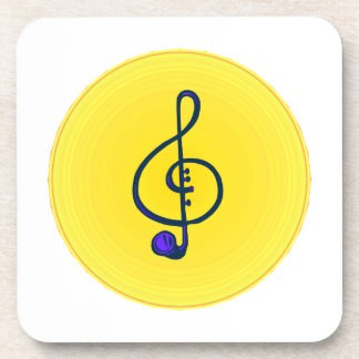 Treble horn clef blue with yellow circle drink coasters